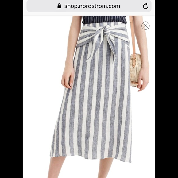 0d11dcfc4c2 Point Sur Nautical Stripe Tie-Waist Linen Skirt. M 5b9bd0a9534ef942408ad7ee